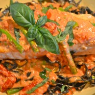 Seared Salmon over Black Ink Pasta with ala Vodka Sauce
