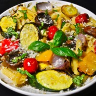 Grilled Vegetables over Penne with Garlic Infused Olive Oil