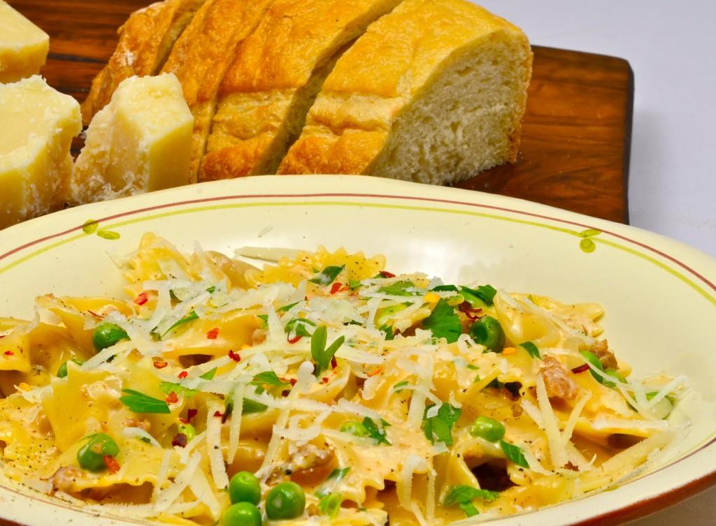 Bow Tie Pasta with Sausage, Fennel, Cream, Reggiano and Tomato Puree