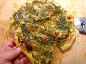 Semolina Pizza with Basil Pesto