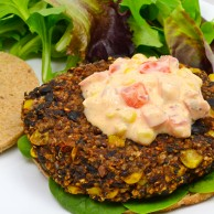 Veggie Burger with Quinoa, Black Beans and Chipotle Peppers in Adobe Sauce