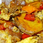 Potato, Pepper, Onion, Veggie Sausage & Egg Scramble