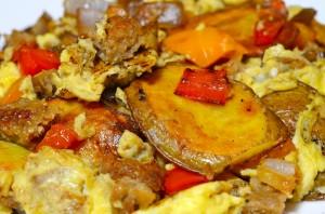Potato, Pepper, Onion, Veggie Sausage & Egg Scramble