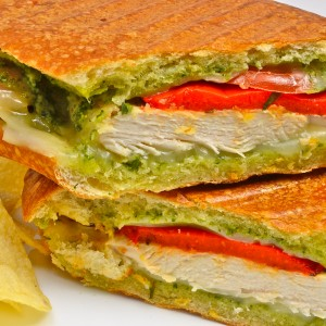 Chicken with Pesto and Roasted Peppers Panini