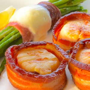 Sea Scallops Wrapped In Smoked Bacon