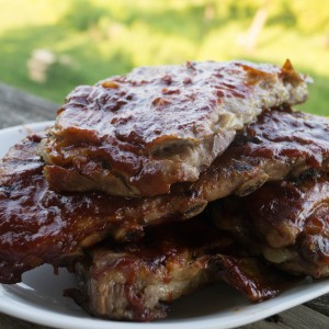 Grilled Baby Back Ribs with Whiskey BBQ Sauce