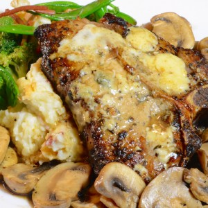 Veal Chop with Gorgonzola and Veal Demi Glaze