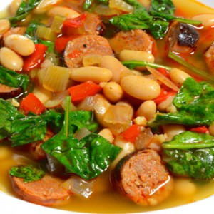 Chorizo, White Beans and Spinach Soup