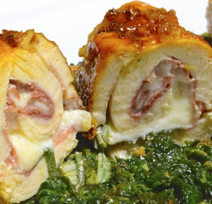 Chicken Breasts Rolled with Prosciutto, Gouda and Sage